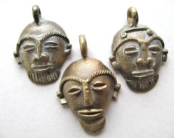 African masks, handmade brass masks, 3 masks,  50 to 58mm long, vintage masks - 586