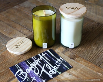 Recycled wine bottle candle - Bergamot + Tobacco soy wax with wood wick