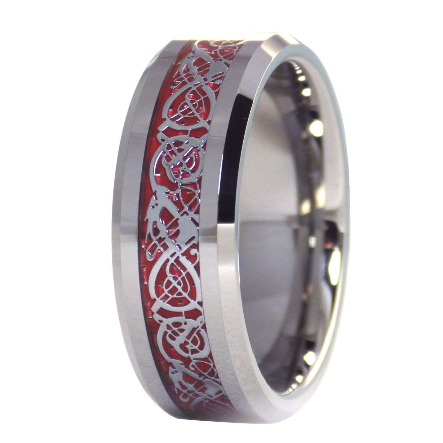 Dragon Ring Tungsten Fire Red Celtic By Fantasyforgejewelry