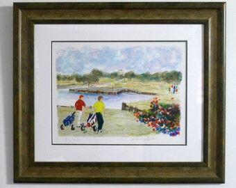 Custom Framed Golf Print 51/450 Watercolor Style Art