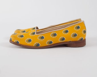 Vintage Provencal Patterned Shoes   Vintage Women's French Floral Flats