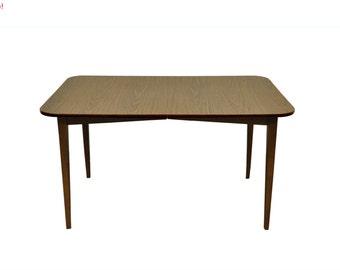 10% Off Sale! Small Vintage Mid Century Modern Walnut & Laminate Dining Table 1 Leaf Danish Style