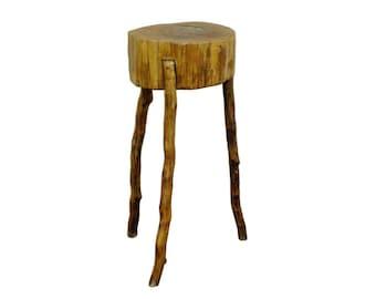 Handmade Robert Powchik Rustic Log Tree Branch Primitive Table Pedestal Stand