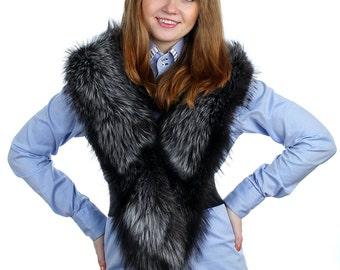 Silver Fox Fur Scarf