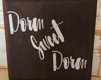 Dorm Sweet Dorm, Shabby Chic Dorm Room Sign, Rustic Dorm Room Sign, Graduation Gift, Distressed Dorm Room Sign, Dorm Room Gift