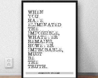 Sherlock Holmes Quote Arthur Conan Doyle quote wall art poster