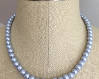 Slate Blue Pearl Necklace 18 inches