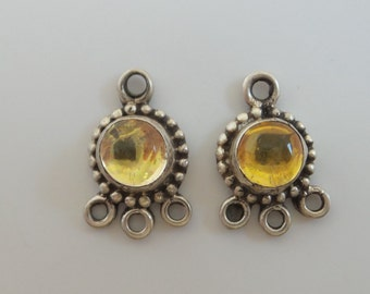 Bali 925 sterling silver earring connector with citrine cabochon. For chandelier earrings or strand separator. Wholesale. EC03