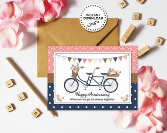 Bicycle For Two Anniversary Note Card | Tandem Bicycle | Anniversary Blank Note Card | Printable | Instant Download | Love | Wedding Card