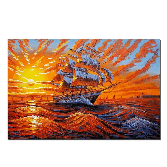 Large Wall Art Canvas Oil Painting Sunrise Painting Canvas