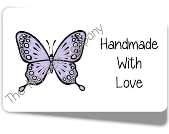 65 x Mini Lilac Butterfly Handmade With Love Stickers