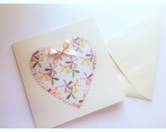 Ditsy Floral Love Heart Card