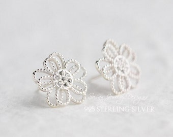 Hollow out flowers Set auger Stud Earrings,Flowers Earrings ,925 sterling silver made,Sterling silver jewelry