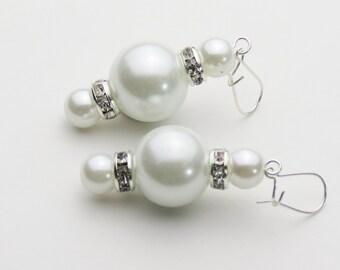 Pearl Earrings - 8 & 16mm Glass Pearls and Crystal Rondelles - Linda