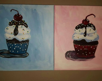 "12"" x 12"" handpainted canvas cupcakes blue or pink"