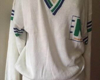 Vintage university v neck jumper