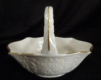 Lenox Fine Bone China Basket-Porcelain Basket-Candy Dish-Fruit Basket-Gold trimmed Ceramic Basket