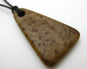 Myrtle Burl Wood Triangle Pendant Necklace Men's Women's Necklace Pendant Eco Friendly Jewelry