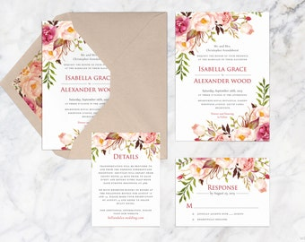 Printable Wedding Invitation Set, Fall Wedding Invites, Woodland Wedding Suite, DIY Wedding Invitations, Autumn Wedding Invite