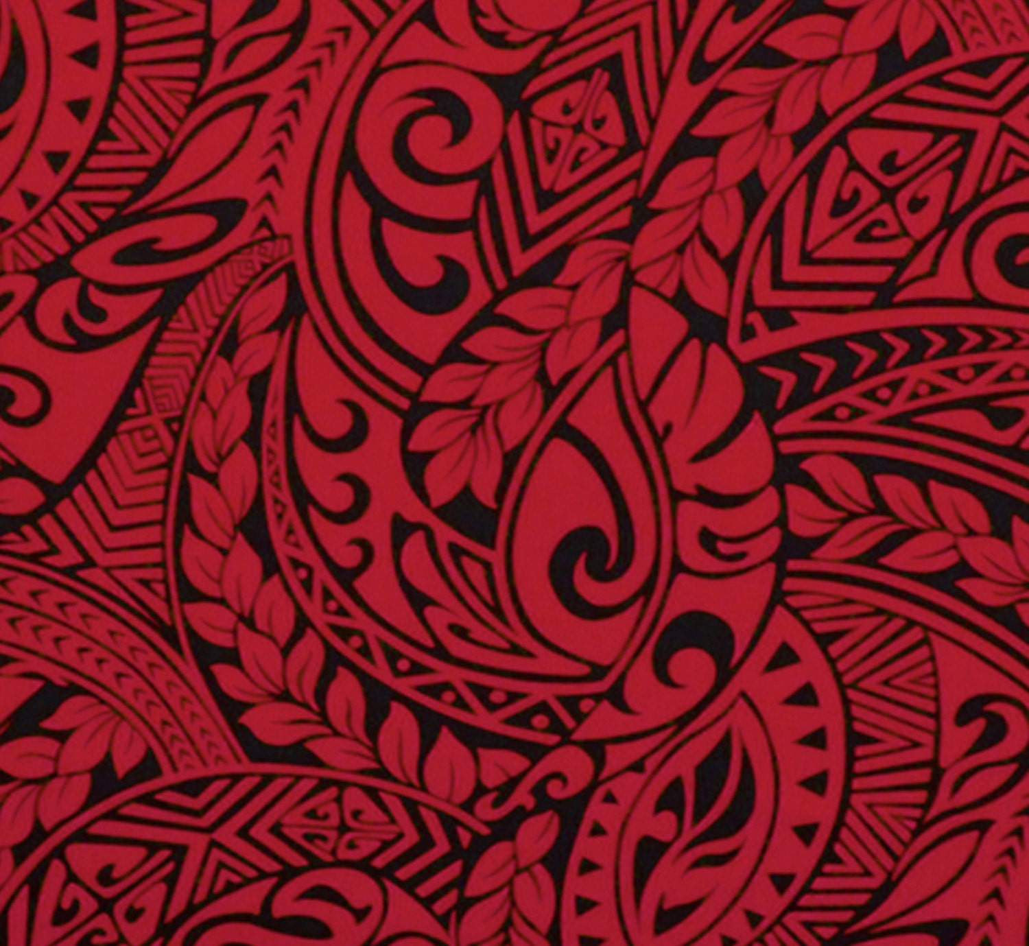 Polynesian Tapa Fabric Tattoo Red and by HawaiianFabricNBYond