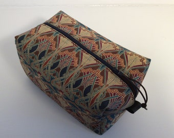 Washbag made with Liberty Lanthe fabric and waterproof lining