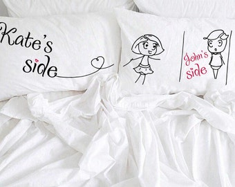 Personalized couple pillowcases His Her Couple pillowcases My side your side boy and girl cotton anniversary gift idea for him her couple