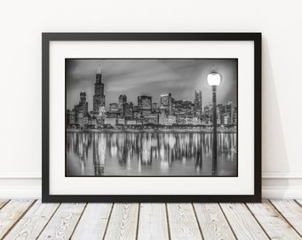 black and white chicago skyline frame 14x18 or 18x24 with double mat and print chicago skyline chicago photography chicago wall art