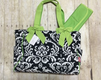 monogrammed black and lime green floral pattern quilted diaper bag monogrammed diaper baby gift