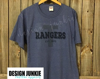 Texas Rangers Baseball Relaxed Vintage Tee - Distressed Established 1972