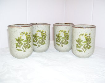 Takahashi Stoneware Cups Set of 4 70s Vintage