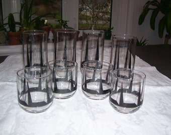 Black Drinking Glasses Set of 8 (4 sm/4 lg) Vintage