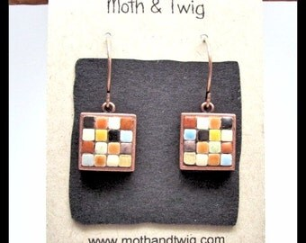 Mosaic Earrings, Ceramic Tiles, Copper, Dangle Earrings