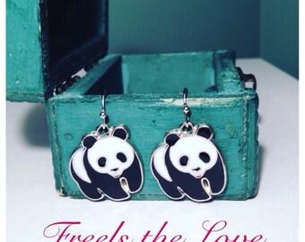 SALE! Childrens panda earrings, cute panda earrings, animal earrings, zoo earrings