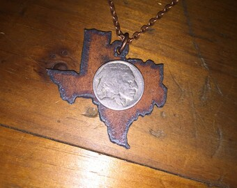 "Buffalo Nickel Texas Necklace | Rusted Metal | 24"" or 30"" Antique Copper Chain"