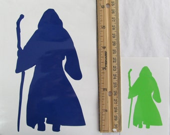 Vinyl Gamer RPG Car Window Decal Sticker Male Druid Wizard with Staff Silhouette Role Playing Game Gaming D&D Dungeons Dragons