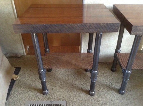 Industrial Wood And Metal Nightstand: Ready To Ship Thick WALNUT Wood End Table/Night Stand/Sink