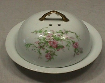 Vintage Hand Painted Porcelain Austria Made Covered Cheese or Butter Dish with internal tray as-is