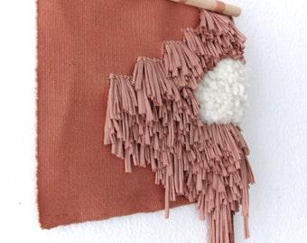 Shaggy Blush Wall Hanging   Tapestry   Weaving   Pink Handwoven Wall Art   Tissage Mural   Wandbehang