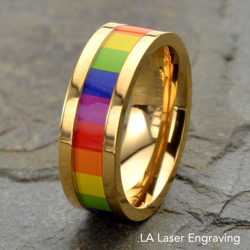 Wedding Band Multi Color Rainbow Inlay Mens Wedding Ring