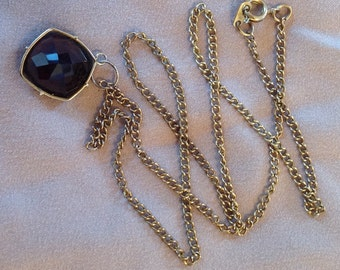 Vintage necklace w/ pendant of multifaceted, brown smoky quartz
