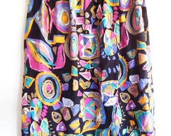 Vintage Slit Skirt - Abstract Print Skirt - Middle long Colorful Skirt - Boho Chic Skirt