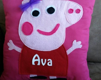 "Personalized Peppa the Pig Pillow 14""X 14"""