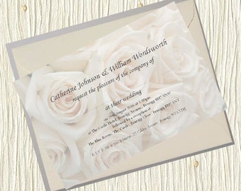 Personalised Wedding Invitations - White Roses 5x7 inch Card Invites + Envelopes - Classic Shabby Chic Country Old Postcard Rustic Vintage