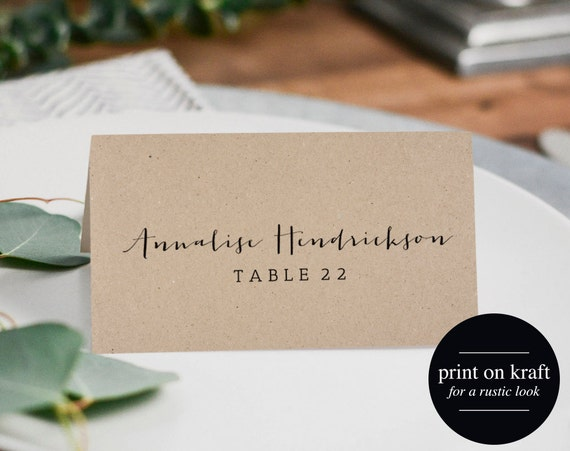 rustic wedding place cards printable template flat place