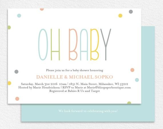 Baby Shower Invitation Gender Neutral Oh Baby Shower