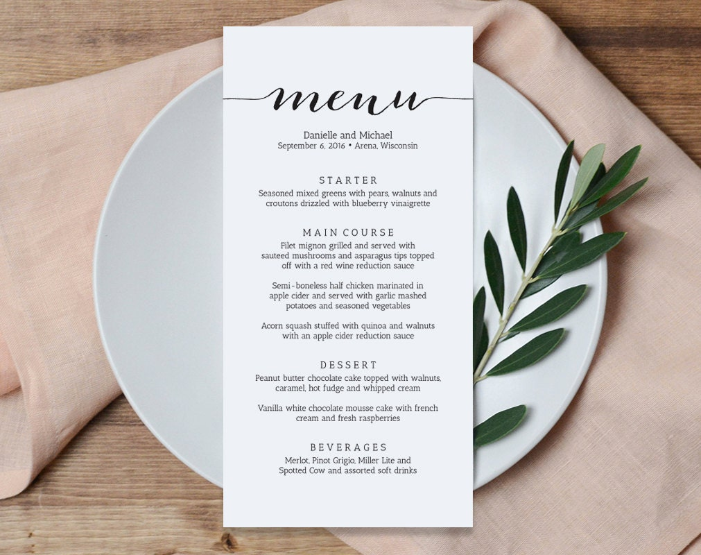 Wedding menu printable template printable menu menu for Menu templates for weddings