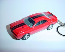 3D Dodge Challenger SRT8 custom keychain by Brian Thornton keyring key chain finished in red/black stock SRT color trim diecast metal body