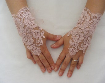 Soft Pink (Rose) Lace Handmade Medium Lenght Fingerless Wedding Gloves With  Organza Ribbons