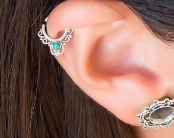 Helix earring. cartilage earring. tragus hoop. helix piercing. tragus jewelry. tiny earring. daith earring. tribal earring. turquoise.