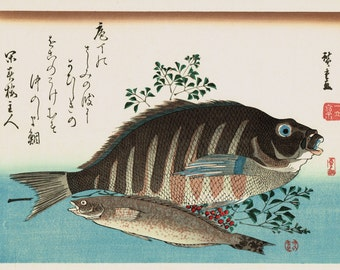 "Japanese Ukiyoe, Woodblock print, antique, Hiroshige, ""Striped Sea Bream, Rock Trout & Nandin"""